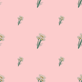 Camomille modèle sans couture sur fond rose. belles fleurs d'été d'ornement.