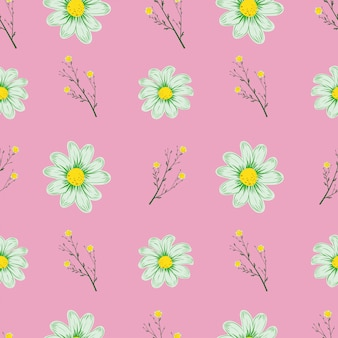 Camomille transparente motif fond rose