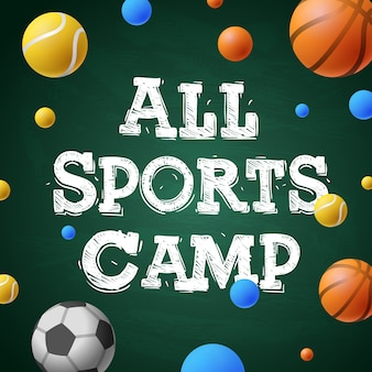 Camp d'entraînement sportif d'été, affiche thématique