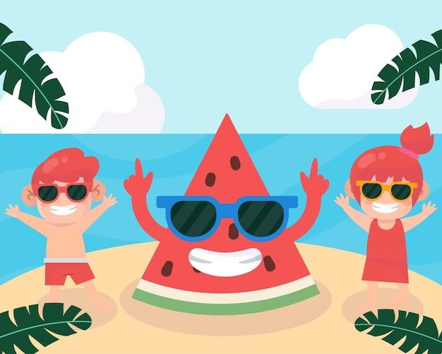 Camp d'été avec des enfants à la plage