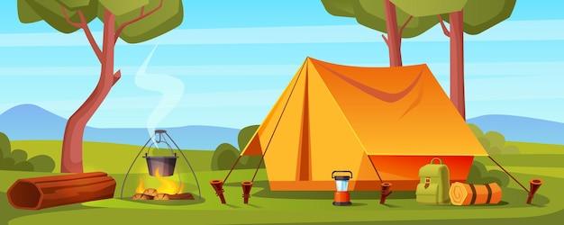 Camp d'été en forêt avec sac à dos de tente de feu de joie et illustration de paysage de dessin animé de lanterne