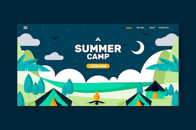 Camp d'été de la page de destination