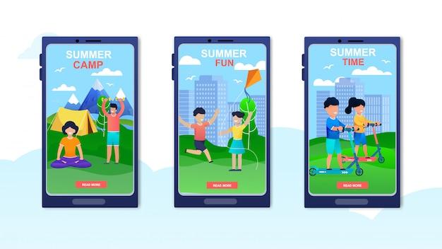 Camp d'été de publicité pour ensemble de pages de destination mobiles.