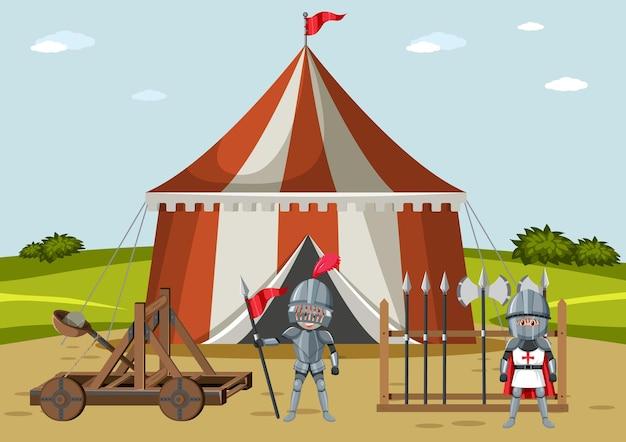Camp médiéval militaire avec deux guerriers