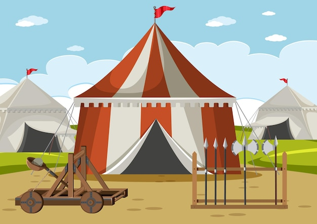 Camp militaire médiéval avec tentes et armes