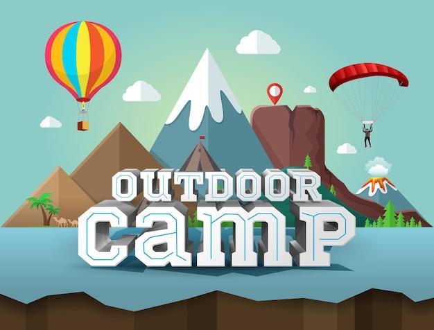 Camp en plein air, affiche avec texte 3d. voyage et tourisme