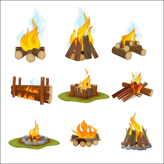 Camp de pompiers. cheminée en bois feu de joie lumière randonnée symboles collection de voyage collection de dessins animés de flamme naturelle. cheminée et feu de camp, illustration de bois de chauffage chaud