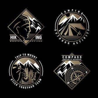 Camp de randonnée et vecteur de conception de logo de montagne