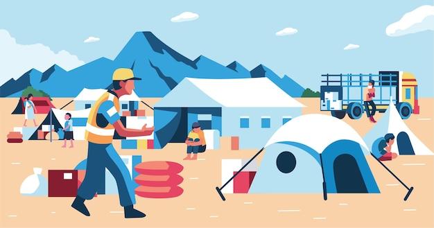 Camp de réfugiés pour les réfugiés victimes de catastrophes naturelles