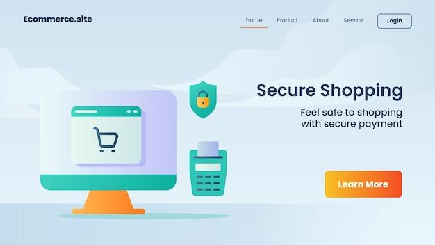 Campagne d'achat sécurisée pour un dépliant de modèle de bannière de page d'accueil de page d'accueil de site web