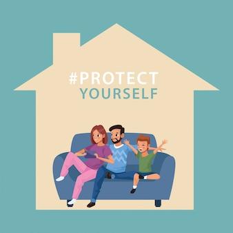 Campagne de couple de parents avec fils à la maison
