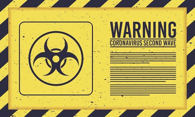 Campagne de deuxième vague covid19 avec sceau de danger biologique