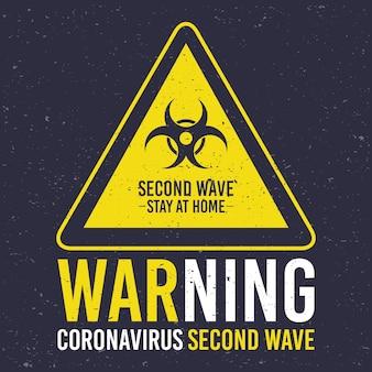 Campagne de deuxième vague covid19 avec signal de danger biologique en triangle