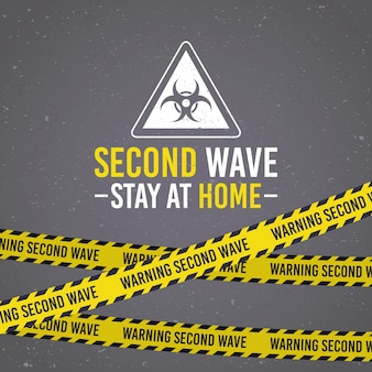 Campagne de deuxième vague covid19 avec signe de danger biologique et ruban adhésif