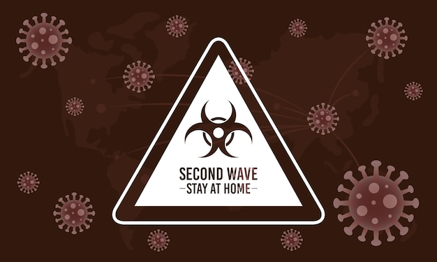 Campagne de deuxième vague covid19 avec signe de danger biologique