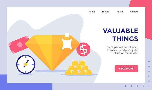 Campagne de diamants brillants de choses précieuses pour bannière de modèle de page de destination de page d'accueil de site web avec moderne