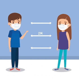 Campagne de distanciation sociale pour covid 19 avec des enfants à l'aide de la conception d'illustration de masque facial