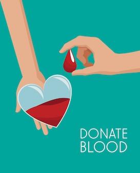 Campagne de dons en forme de coeur de sac de sang