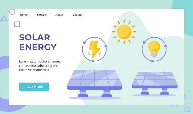Campagne d'énergie solaire du panneau solaire pour la page d'accueil de la page d'accueil du site web