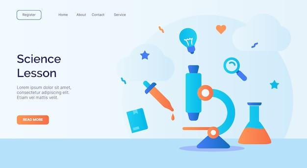 Campagne d'icône chimique de tube de pipette de microscope de leçon de science pour la bannière de modèle d'atterrissage de page d'accueil de site web de site web avec le style plat de dessin animé.