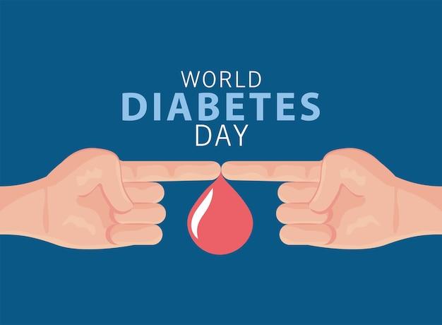 Campagne de la journée mondiale du diabète avec conception d'illustration goutte de sang et doigts
