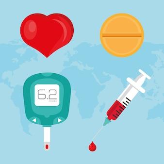 Campagne de la journée mondiale du diabète définie des icônes sur la planète terre