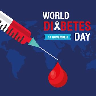 Campagne de la journée mondiale du diabète avec goutte de sang dans une seringue et cartes de la terre