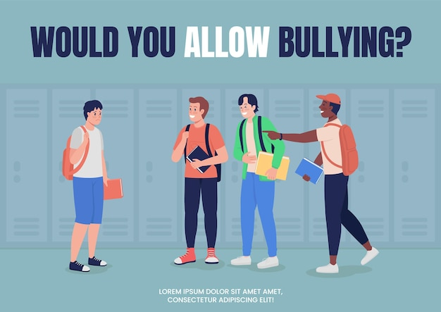Campagne de lutte contre l'intimidation pour le modèle vectoriel plat d'affiches scolaires