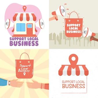Campagne de magasin local avec lettrage et icônes définies