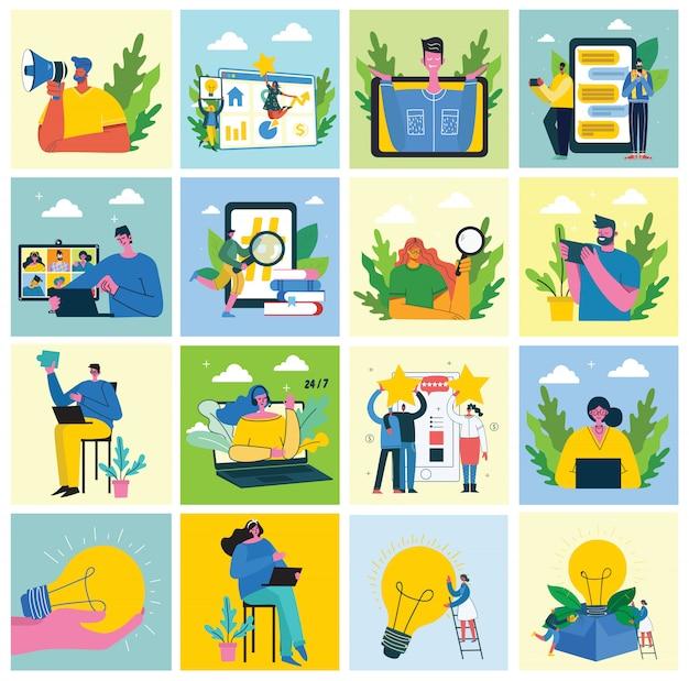 Campagne de marketing, vidéoconférence, illustration de concept d'analyse commerciale dans un design plat et propre moderne.