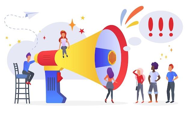 Campagne de promotion marketing, annonce, concept de diffusion