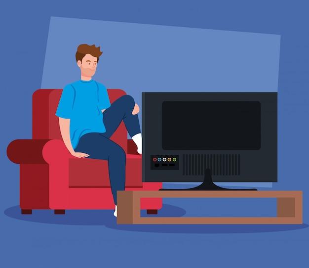 Campagne reste à la maison avec un homme devant la télé