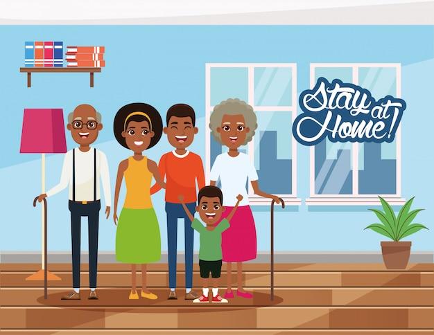 Campagne rester à la maison avec les membres de la famille afro