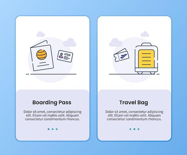 Campagne de sac de voyage de carte d'embarquement pour le modèle d'applications mobiles d'embarquement