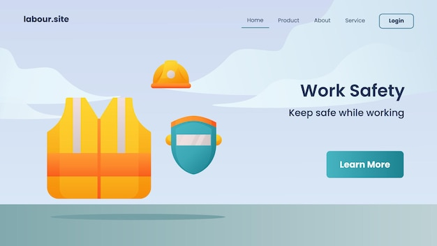 Campagne de sécurité au travail pour le modèle de page de destination de la page d'accueil de la page d'accueil du site web