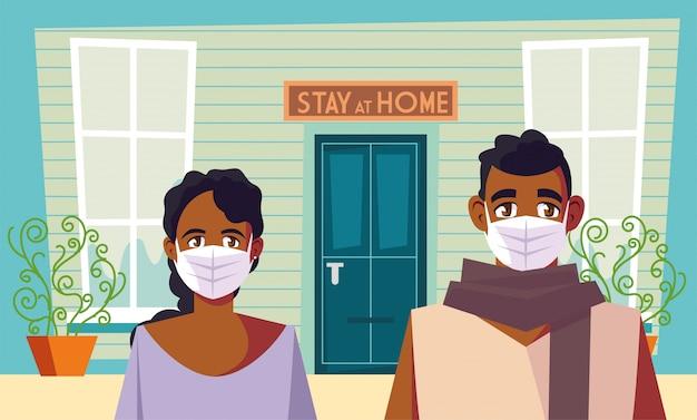 Campagne de sensibilisation aux réseaux sociaux et prévention des coronavirus, partage à la maison