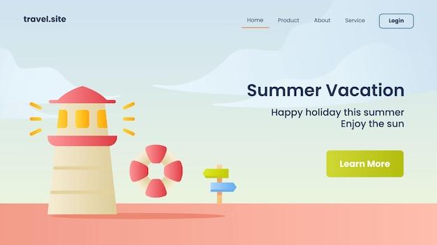 Campagne de vacances d'été pour le modèle de bannière de page de destination de la page d'accueil du site web