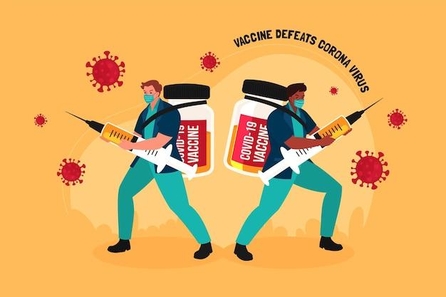Campagne de vaccination à plat illustrée