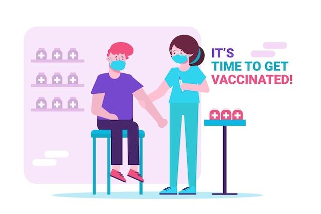 Campagne de vaccination à plat avec un médecin