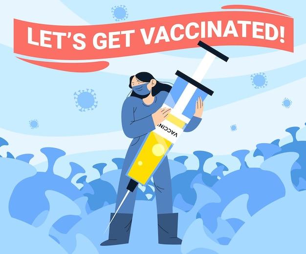 Campagne de vaccination à plat avec seringue