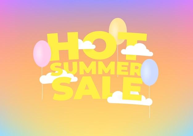 Campagne de vente de nuages et de ballons festifs à la mode des soldes d'été chauds.