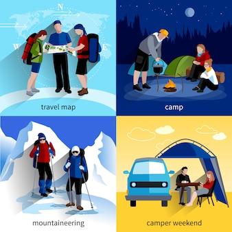 Camper people icons set