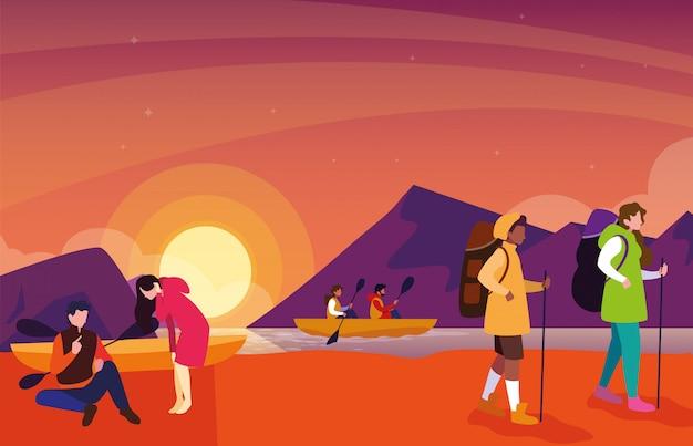 Les campeurs dans la magnifique scène de coucher de soleil