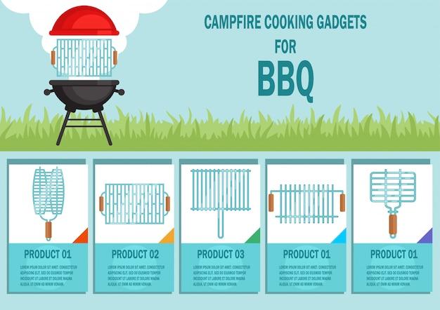 Campfire cooking gadgets pour bannière de vecteur bbq