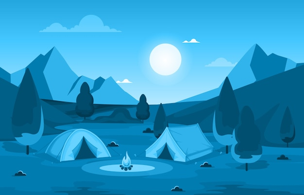 Camping aventure en plein air parc montagne nature paysage cartoon illustration