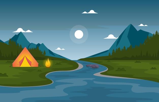 Camping aventure en plein air parc rivière nature paysage cartoon illustration