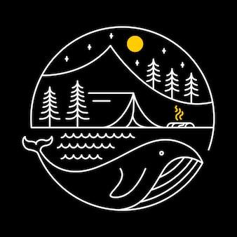 Camping sur une baleine