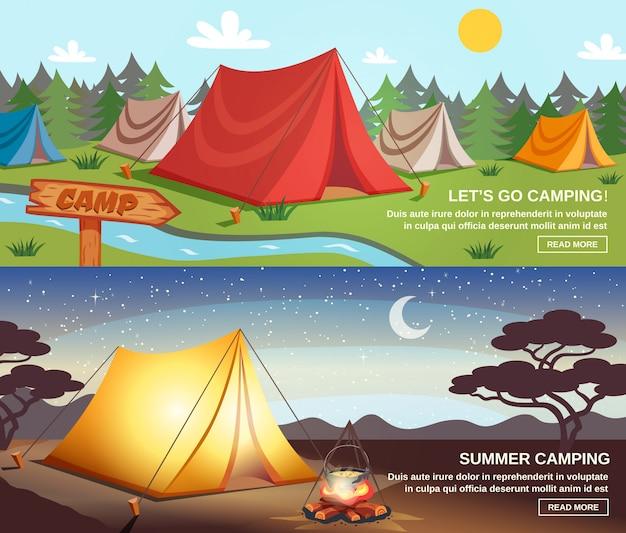 Camping bannières horizontales