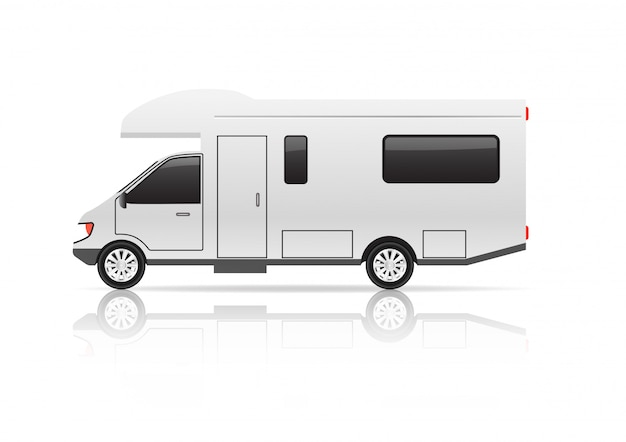 Camping-car sur blanc
