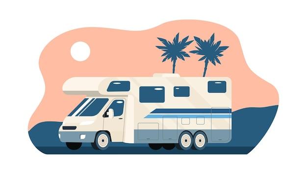 Camping-car sur fond de paysage tropical abstrait.